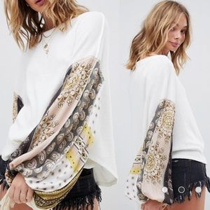 NWT Free People Blossom Thermal Top Paisley Sleeve